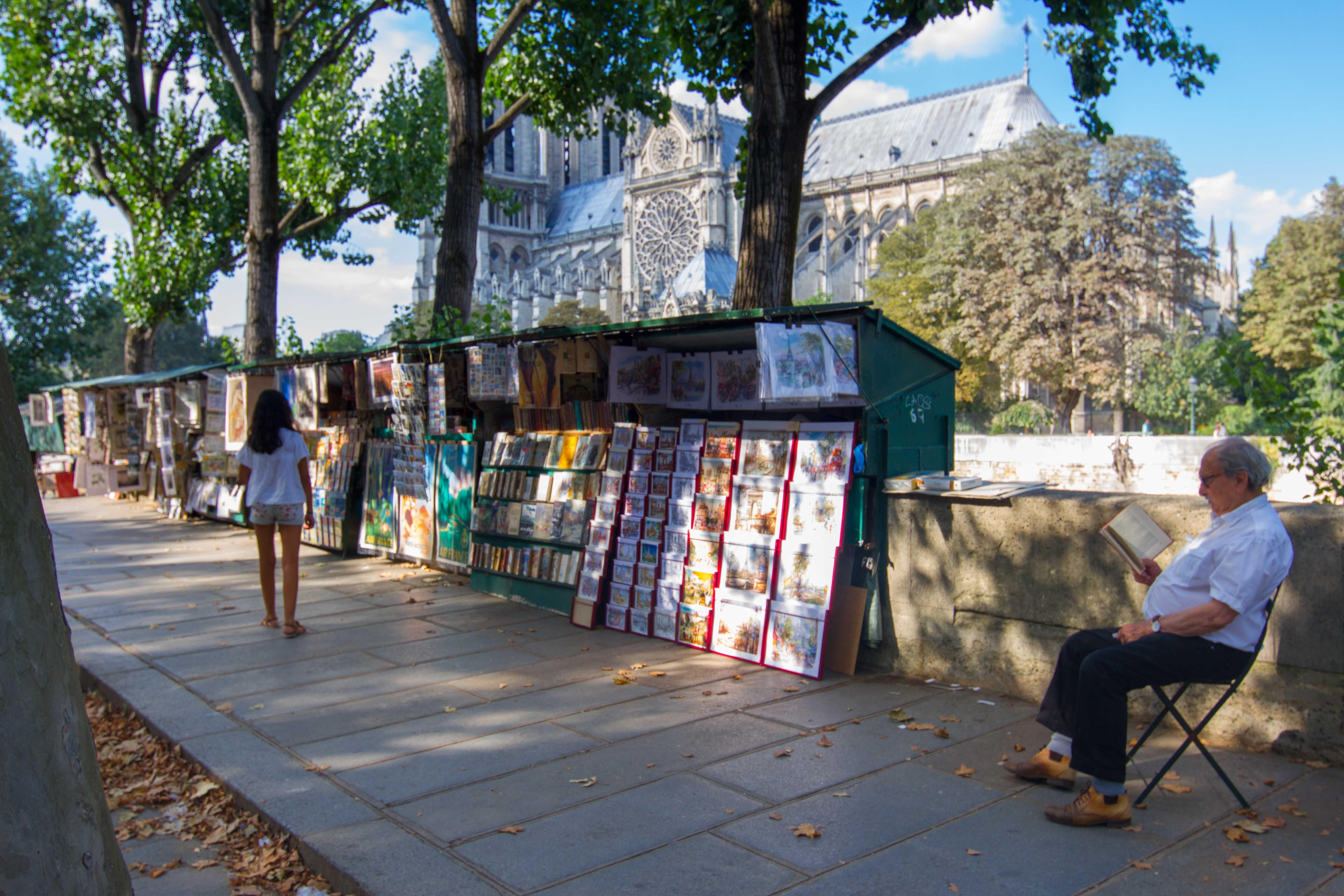 PARIS - Angel Ayastui (Aretxabaleta). Ane liburuak begira Notre Dame inguruan.